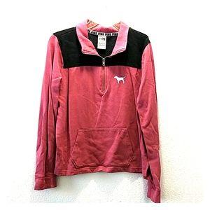 Pink Victoria Secret Women's Quarter Zip Sweater M